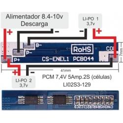 PCM-Baterías de Litio-Li-Po 7.4V-5A.Li02S3-129