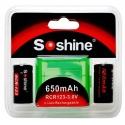 Set Bateria Soshine RCR123-3.0v 650mA.